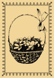 Postal de la vendimia - una cesta con Snowdrops Foto de archivo libre de regalías