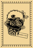 Postal de la vendimia - una cesta de rosas Imagen de archivo libre de regalías