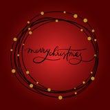 Postal de las letras de la mano de la Feliz Navidad Imagen de archivo libre de regalías