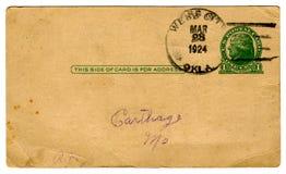 postal de los años 20, una cancelación del centavo Imagen de archivo libre de regalías