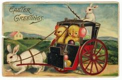Postal de los saludos de Pascua de la vendimia Fotos de archivo