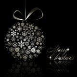 Postal de plata de la Feliz Navidad Foto de archivo libre de regalías