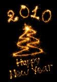 Postal de una Feliz Año Nuevo de la enhorabuena Fotos de archivo