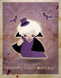 Postal de Víspera de Todos los Santos con el pequeño vampiro lindo Imagen de archivo libre de regalías