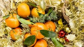 Postal del Año Nuevo con los mandarines Foto de archivo