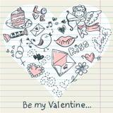 Postal del amor del día de tarjeta del día de San Valentín del Doodle Imagen de archivo libre de regalías