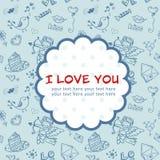 Postal del amor del día de tarjeta del día de San Valentín del Doodle Fotografía de archivo