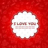 Postal del amor del día de tarjeta del día de San Valentín del Doodle Fotografía de archivo libre de regalías