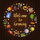 Postal del círculo del viaje de Alemania con símbolos alemanes famosos Imagen de archivo libre de regalías