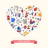 Postal del corazón de los iconos del viaje de Francia con símbolos franceses famosos Fotografía de archivo libre de regalías