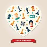 Postal del corazón con ajedrez del diseño e iconos planos de los jugadores Foto de archivo