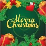 Postal del cuadrado de la caligrafía de las letras de la mano de la Feliz Navidad Fotos de archivo libres de regalías