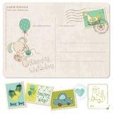 Postal del cumpleaños del bebé con el conjunto de sellos Fotos de archivo libres de regalías