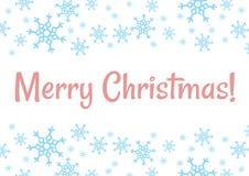 Postal del día de fiesta del vector de los copos de nieve del invierno de la Feliz Navidad stock de ilustración