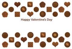 Postal del día de Valentine's con los diversos chocolates ilustración del vector