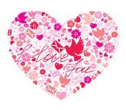Postal del día del `s de la tarjeta del día de San Valentín ilustración del vector