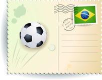 Postal del fútbol del Brasil Fotografía de archivo libre de regalías