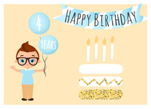 Postal del feliz cumpleaños Fondo del feliz cumpleaños para el cartel, bandera, tarjeta, invitación, aviador El muchacho joven so Imagen de archivo