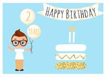 Postal del feliz cumpleaños Fondo del feliz cumpleaños para el cartel, bandera, tarjeta, invitación, aviador El muchacho joven so Foto de archivo libre de regalías