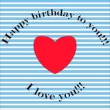 Postal del feliz cumpleaños, fondo rayado y corazón rojo, inscr stock de ilustración