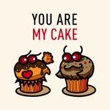 Postal del garabato de los amantes de las tortas Foto de archivo libre de regalías
