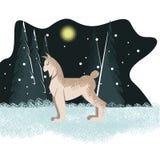 Postal del invierno con el lince en el fondo del árbol libre illustration
