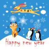 Postal del invierno con un perro y los pingüinos del gato stock de ilustración