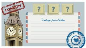 Postal del libro de recuerdos de Londres con los sellos, ejemplo de vistas y lugar para el texto y los sellos Puede ser utilizado Ilustración del Vector
