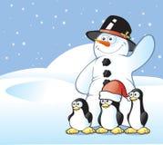 Postal del muñeco de nieve y del pingüino Imagen de archivo
