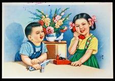 Postal del ruso de la vendimia Foto de archivo