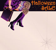 Postal del saludo de las compras de la venta de Halloween Foto de archivo libre de regalías