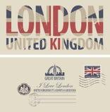 Postal del vector con la bandera de Gran Bretaña libre illustration