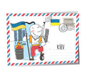 Postal del vector de Ucrania Kiev Fotos de archivo