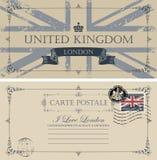 Postal del vintage con la bandera de Gran Bretaña ilustración del vector