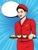 Postal del vintage con la chica joven adentro en pasajeros de la porción del uniforme del rojo ilustración del vector