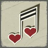 Postal del vintage con la muestra musical bajo la forma de corazones Fotos de archivo libres de regalías