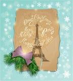 Postal del vintage con la torre Eiffel Fotos de archivo libres de regalías