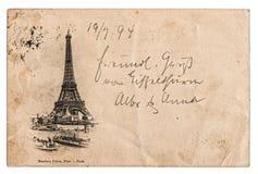 Postal del vintage con la torre Eiffel en París, Francia Imagenes de archivo