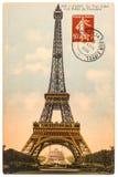 Postal del vintage con la torre Eiffel en París Imágenes de archivo libres de regalías