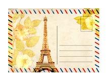 Postal del vintage con las flores de la torre Eiffel y de la rosa imagen de archivo libre de regalías