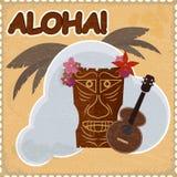 Postal del vintage con los elementos hawaianos Fotos de archivo libres de regalías