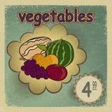 Postal del vintage con una imagen de verduras maduras - manzana Foto de archivo libre de regalías
