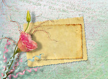 Postal del vintage para la invitación con el manojo de rosas Foto de archivo