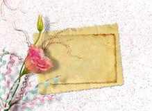 Postal del vintage para la invitación con el manojo de rosas Fotos de archivo