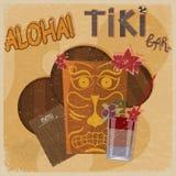 Postal del vintage - para la muestra de la barra del tiki - que ofrece máscaras hawaianas, Imagen de archivo libre de regalías