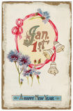 Postal el 1 de enero de los Años Nuevos de la vendimia Fotos de archivo
