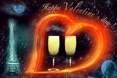 Postal - el día de tarjeta del día de San Valentín Fotografía de archivo libre de regalías