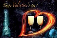 Postal - el día de tarjeta del día de San Valentín Foto de archivo