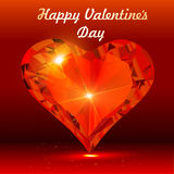 Postal el día de tarjeta del día de San Valentín con el corazón de una piedra preciosa Imagen de archivo