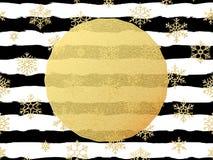 Postal elegante y de lujo de la Navidad con la tarjeta de felicitación de la hoja del brillo del oro Rayas negras, copos de nieve libre illustration